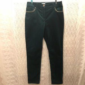 Chico's Size 1 Teal Velvet Straight Leg Pants